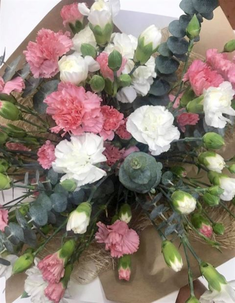 Carnation and Greenery Bouquet Small