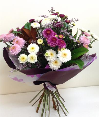 Large - Mixed Chrysanthemum Hand Tied Bouquet